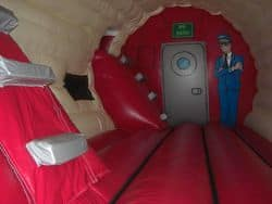 Inside the bouncy aircraft